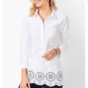 Talbots Embroidered Eyelet-Hem white tunic